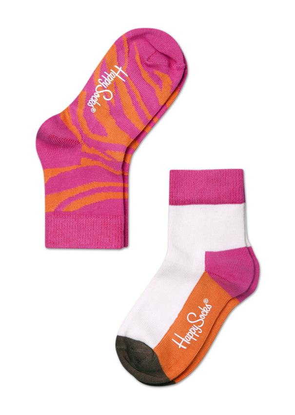 Dětské barevné ponožky Happy Socks, dva páry - Zebra - 2-3Y