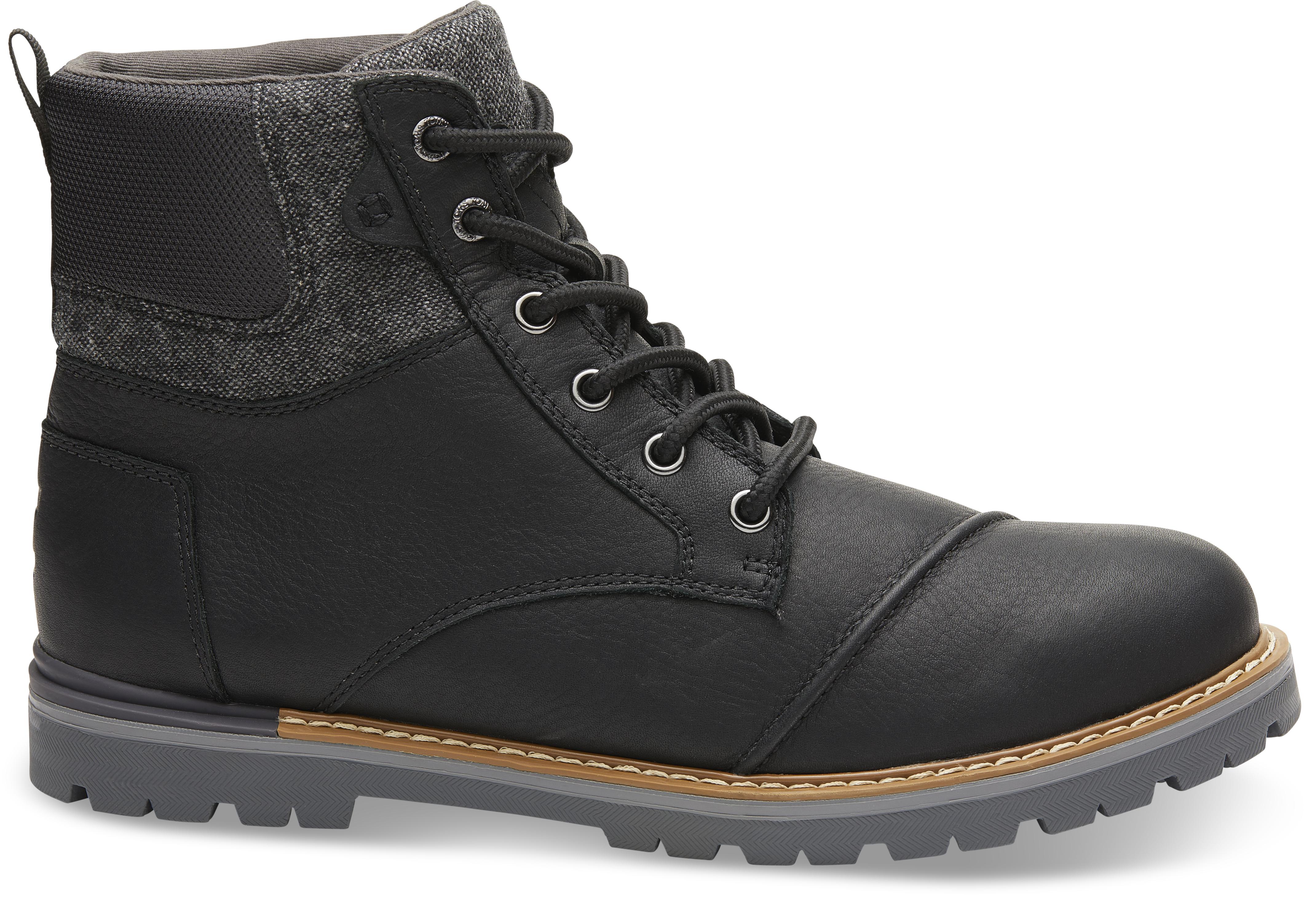Pánské černé kotníkové boty TOMS Leather Ashland 8,5/41