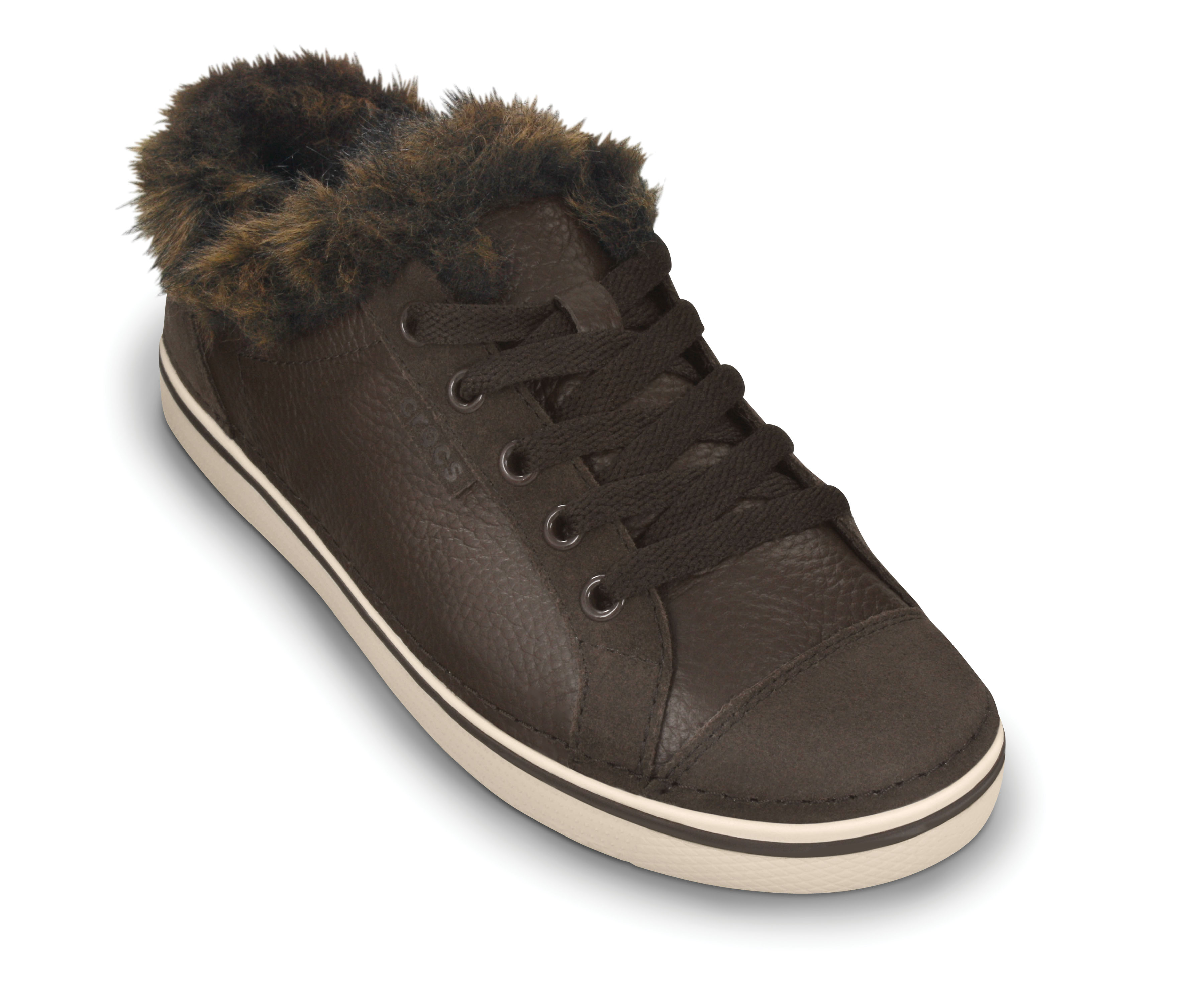 Crocs Hover Sneak Fur Girls - Espresso/Stucco - W5