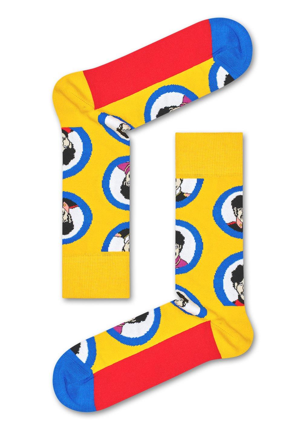Žluté ponožky Happy Socks s kapelou x The Beatles x The Beatles M-L (41-46)