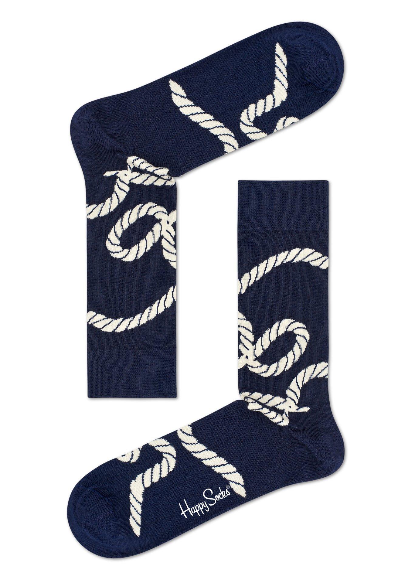 Modro-bílé ponožky Happy Socks s barevnými provazy, vzor Rope