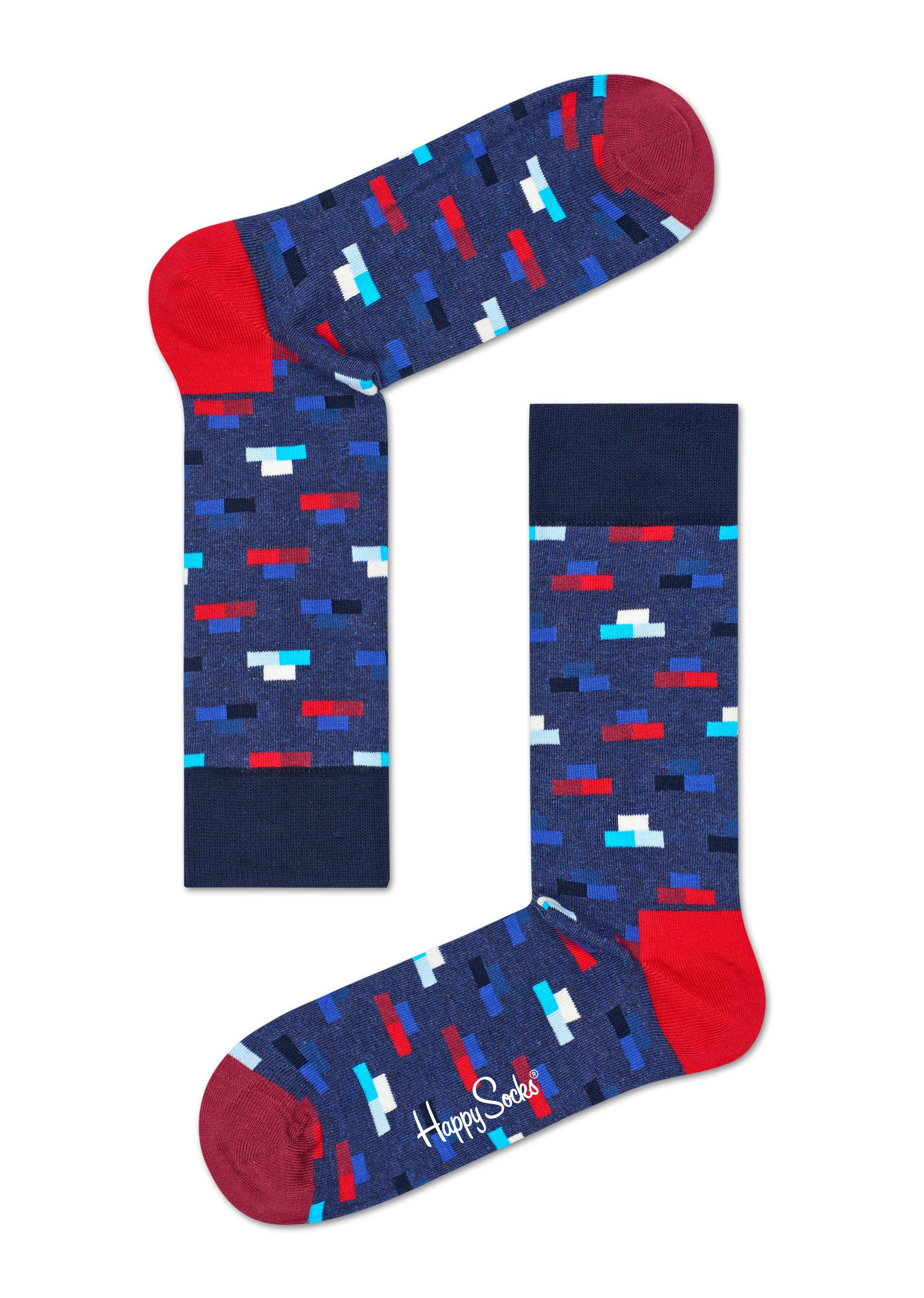 Modré ponožky Happy Socks s barevnými cihlami, vzor Bricks - M-L (41-46)
