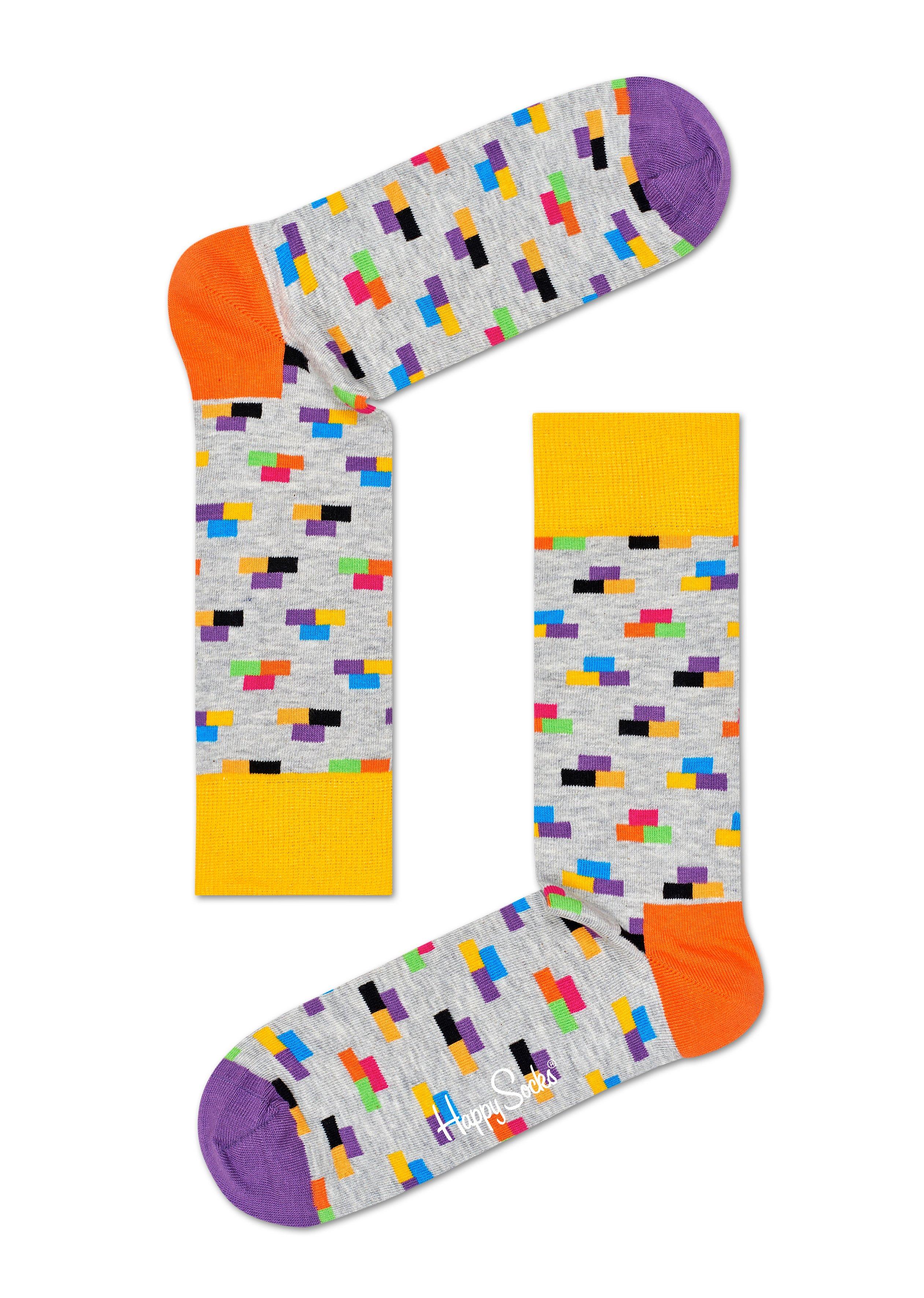 Světle zelené ponožky Happy Socks s barevnými cihlami, vzor Bricks - S-M (36-40)