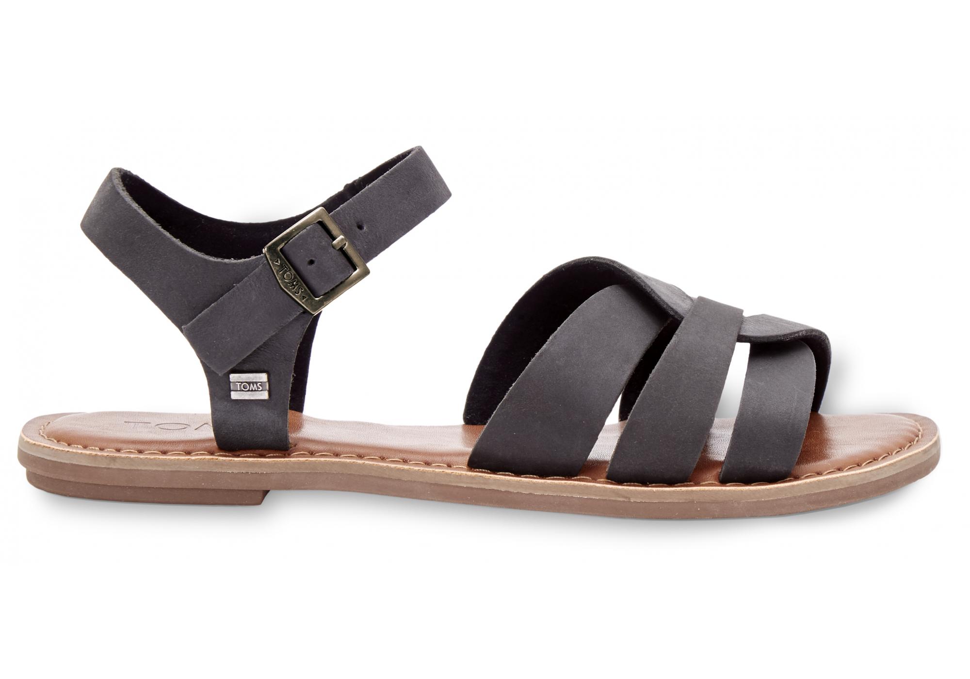 3339f5f5be44 Dámské černé sandálky TOMS Leather Zoe