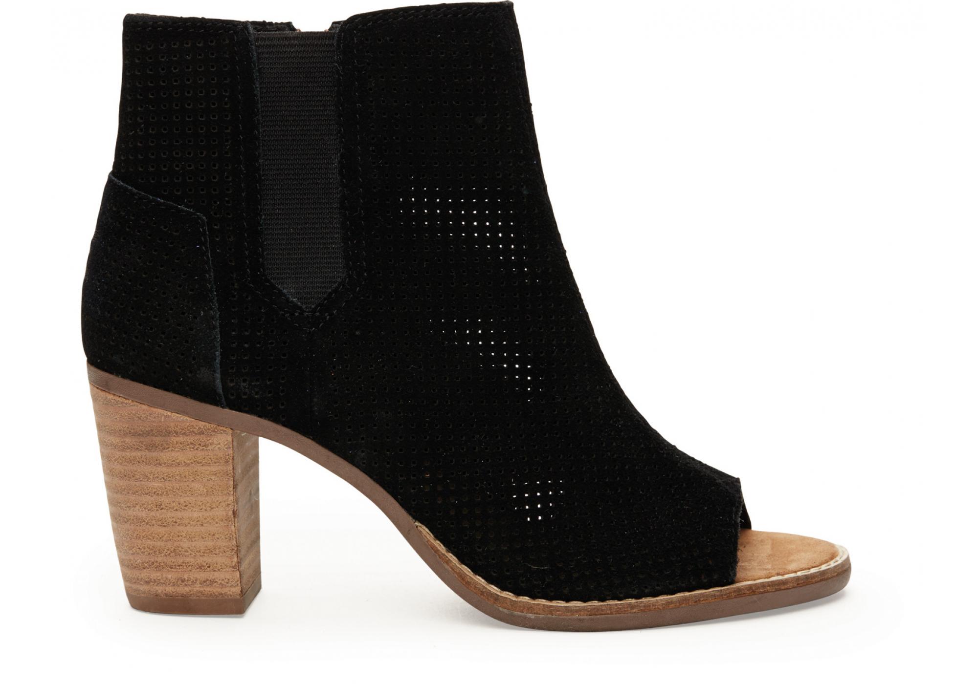 957d76114f8 Černé dámské semišové boty na podpatku TOMS