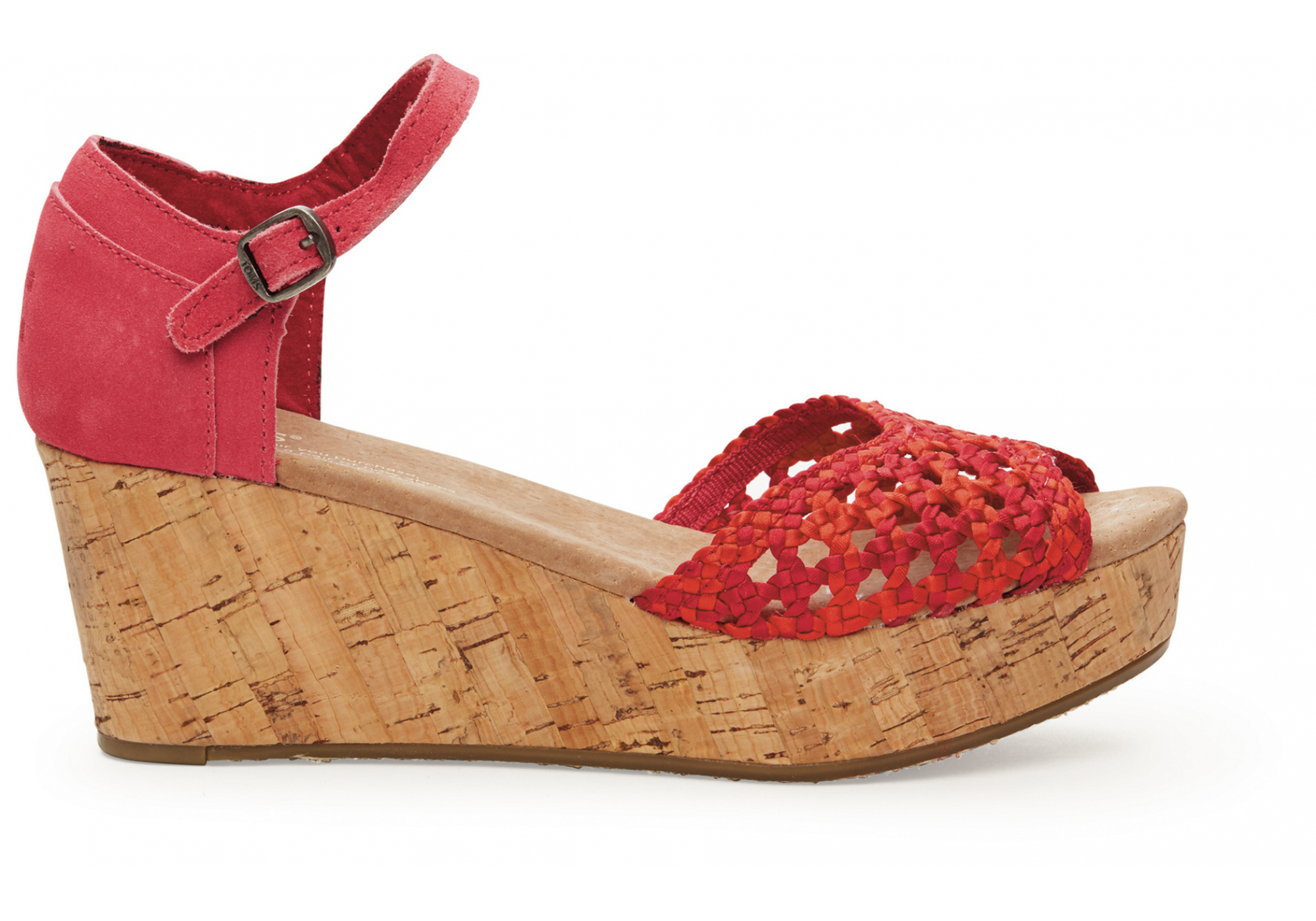 cf7b7c7b19e0 Červené dámské saténové sandálky na klínku TOMS