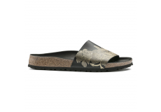Černé pantofle Birkenstock Cora Leather Ornaments
