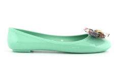Jelly Ballerina With Printed Bow Aqua