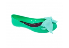 Jelly ballerina with solid color ribbon Green