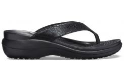 Capri MetallicTxt Wedge Flip W Black/Black W10