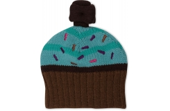 Girls Cupcake Knit Hat Mint/Chocolate