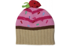 Girls Cupcake Knit Hat Strawberry/Vanila