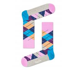 Růžovo-béžové ponožky Happy Socks s károvaným vzorem Argyle