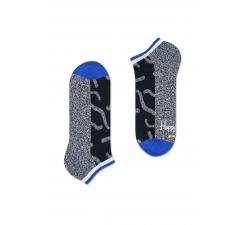 Nízké černé ponožky Happy Socks s šedým vzorem Papercut // kolekce Athletic