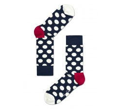 Modré ponožky Happy Socks s bílými puntíky, vzor Big Dot