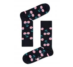 Černé ponožky Happy Socks s růžovými třešničkami, vzor Cherry