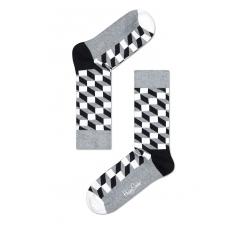 Šedivé ponožky Happy Socks s černobílým vzorem Filled Optic