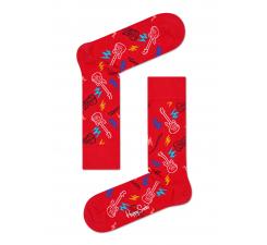 Červené ponožky Happy Socks s barevným vzorem Guitarra