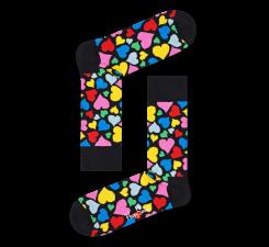 Černé ponožky Happy Socks s barevnými srdci, vzor Heart