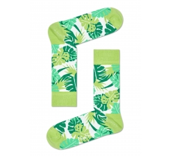 Zelené ponožky Happy Socks s barevnými listy, vzor Jungle