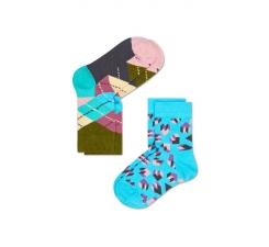 Dětské barevné ponožky Happy Socks, dva páry – Steps a Argyle