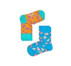 Dětské barevné ponožky Happy Socks, dva páry – vzory Banana a Watermelon