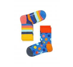 Dětské barevné ponožky Happy Socks, dva páry – vzory Big Dot a Stripes