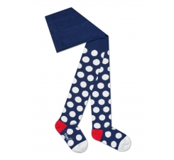 Dětské modré punčochy Happy Socks s bílými puntíky, vzor Big Dot