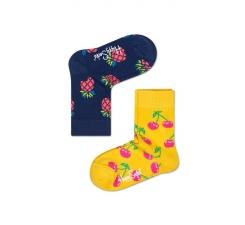 Dětské barevné ponožky Happy Socks, dva páry – Pineapple a Cherry