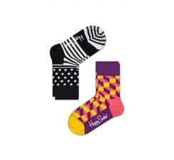 Dětské barevné ponožky Happy Socks, dva páry – Stripe Dot a Filled Optic
