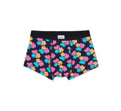 Černé boxerky Happy Socks s barevnými květinami, vzor Kimono