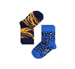 Dětské barevné ponožky Happy Socks, dva páry - Leopard a Zebra