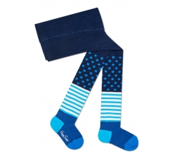 Dětské modré punčochy Happy Socks, vzor Stripe and Dot