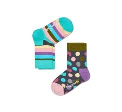 Dětské barevné ponožky Happy Socks, dva páry – Big Dot a Stripes
