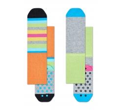 Dětské barevné protiskluzové ponožky Happy Socks, dva páry – vzor Stripes