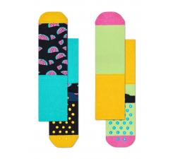 Dětské barevné protiskluzové ponožky Happy Socks, dva páry – vzor Watermelon