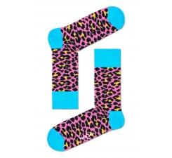 Růžové ponožky Happy Socks s barevným vzorem Leopard