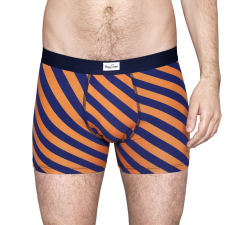 Oranžové boxerky Happy Socks s modrými pruhy, vzor Polka