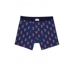 Modré delší boxerky s knoflíčky Happy Socks s růžovými ananasy, vzor Pineapple