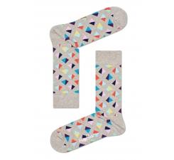 Béžové ponožky Happy Socks s barevnými pyramidami, vzor Pyramid