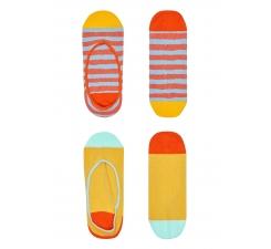 Dámské žluto-oranžové vykrojené ponožky Happy Socks Claudia bd6a222ffb