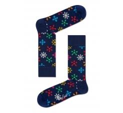 Modré ponožky Happy Socks s barevnými vločkami, vzor Snowflake