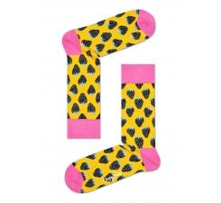 Žluté ponožky Happy Socks s barevnými jahodami, vzor Strawberry