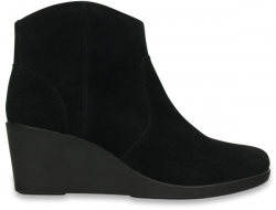 Leigh Suede Wedge Bootie - Black W6