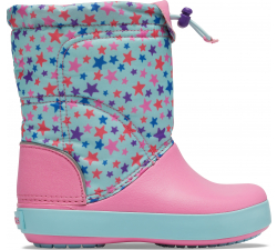 Crocband LodgePoint Graphic Winter Boot K Ice Blue/Pink Lemonade C10