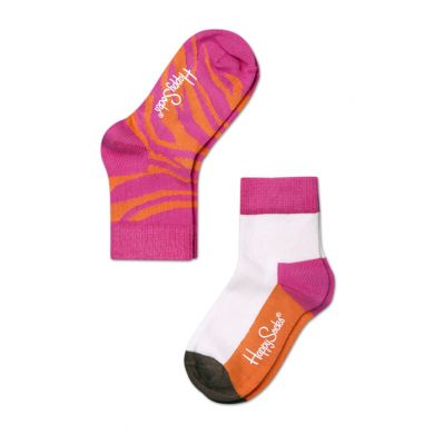 Dětské barevné ponožky Happy Socks, dva páry - Zebra