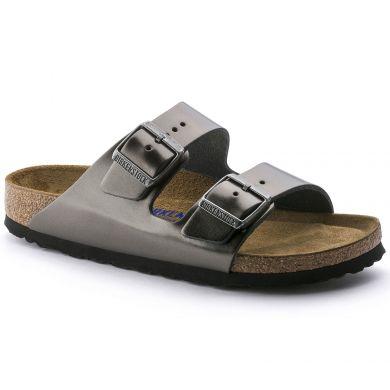 Šedé pantofle Birkenstock Arizona Metallic Leather