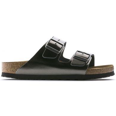 Šedočerné pantofle Birkenstock Arizona Soft Footbed Natural Leather Metallic