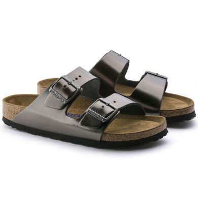 Šedočerné pantofle Birkenstock Arizona Soft Footbed Natural Leather Metallic