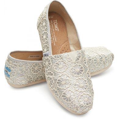 Stříbrné dámské TOMS Glitter Crochet Alpargatas